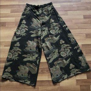 VTG Citron Japanese print wide leg silk pants L